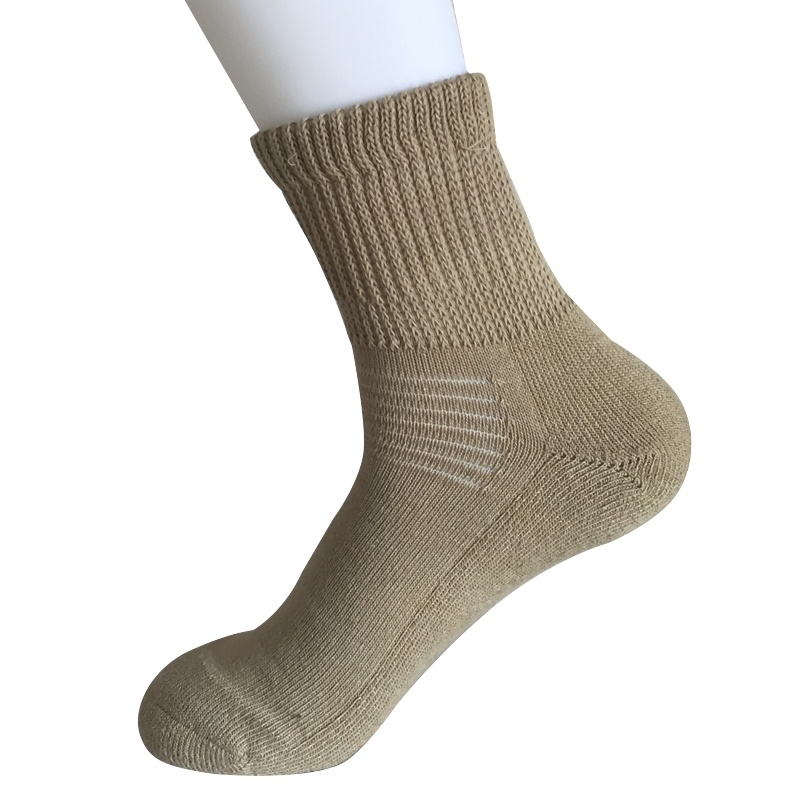 Half Cushion Sorbtek Coolmax Diabetic Health Care Medical Khaki Quarter Socks (JMDB07)