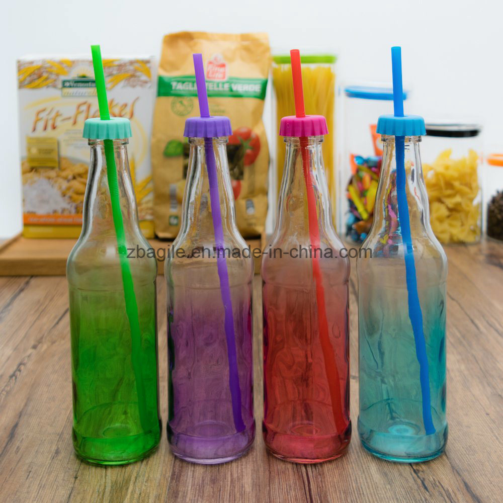 Factory Wholesale High Quality Colorful Oil Juice Glass Bottle with Straw (100003)