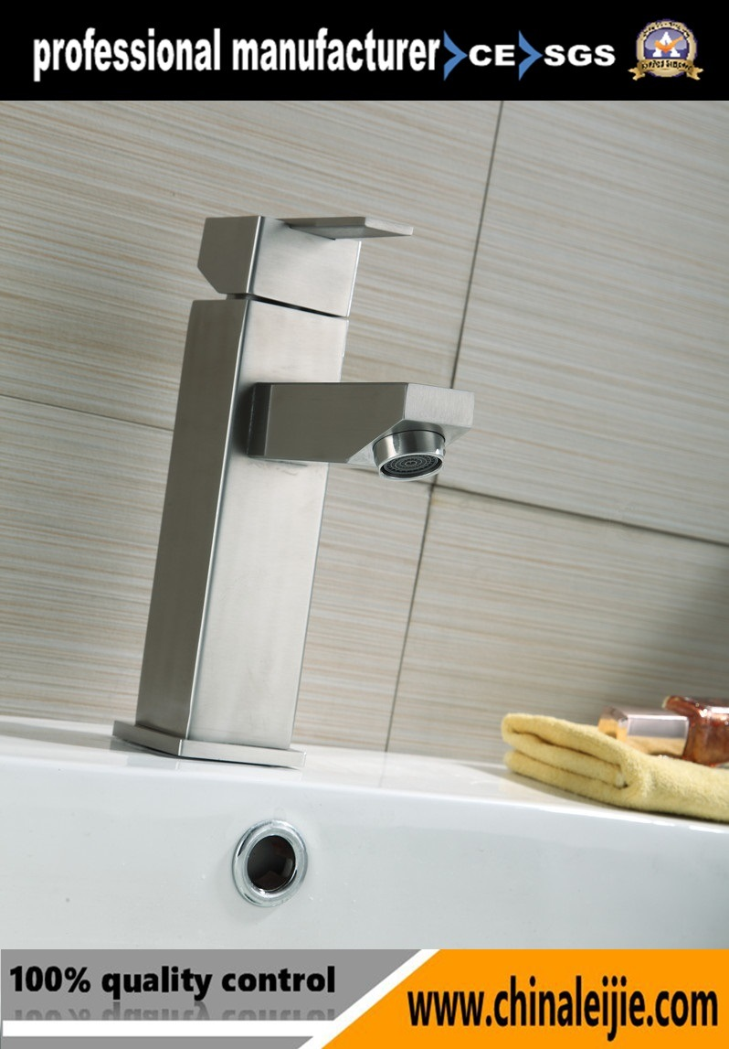 Stainless Steel Square Basin Water Tap Waterfall Faucet for Bathroom