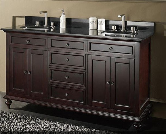 61 Double Sink Solid Wood Bathroom Vanity GB S9018 Photos Pictures