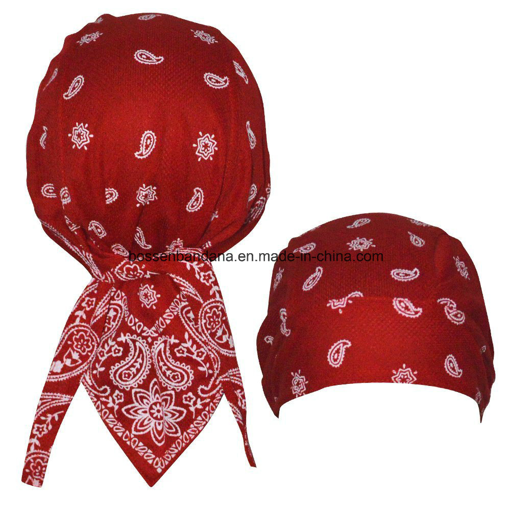China Factory Produce Customized Logo Printed Promotional Sports Cotton Red Paisley Biker Bandana Cap