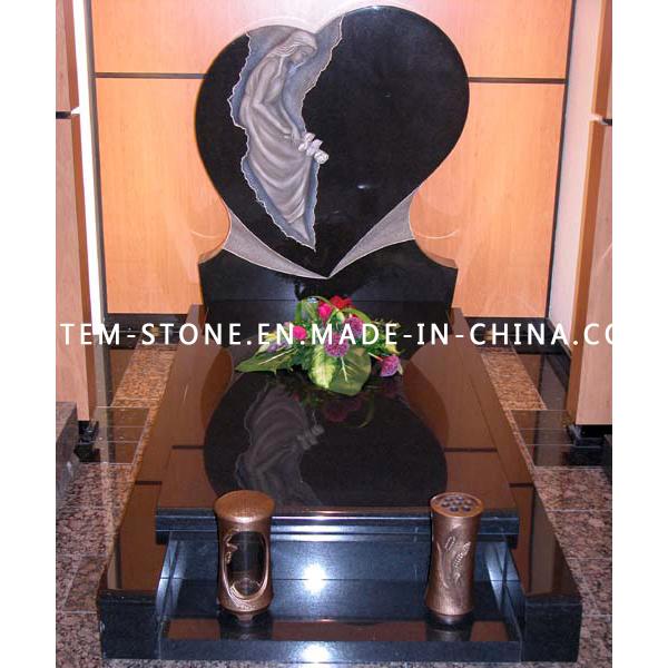 European Styles Shanxi Black Granite Angel Statue Stone Tombstone
