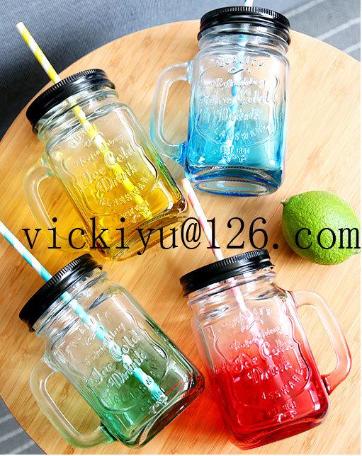 Yellow Glass Mason Jar 450ml Glass Juice Jar with Metal Cap and Straw