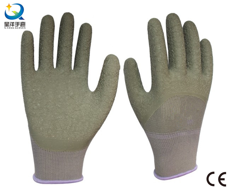 13G Polyester Liner Latex 3/4 Coated Safety Work Glove
