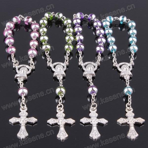 Beautiful Girls Glass Rosary Bracelet with Diamond Cross Pendant