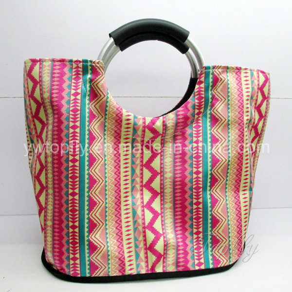 Customized Promotional Leisure Tote Beach Bags with Aluminium Round Handle