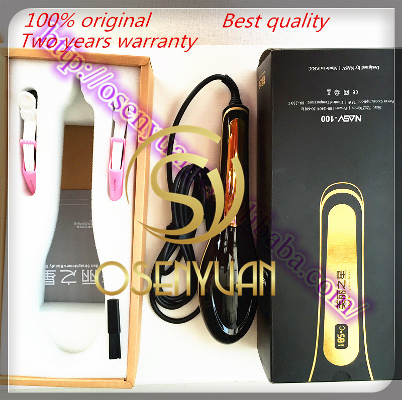100 Original Comb Ceramic Electric Hair Brush Beauty Salon Equipment LCD Digital Hair Straightener