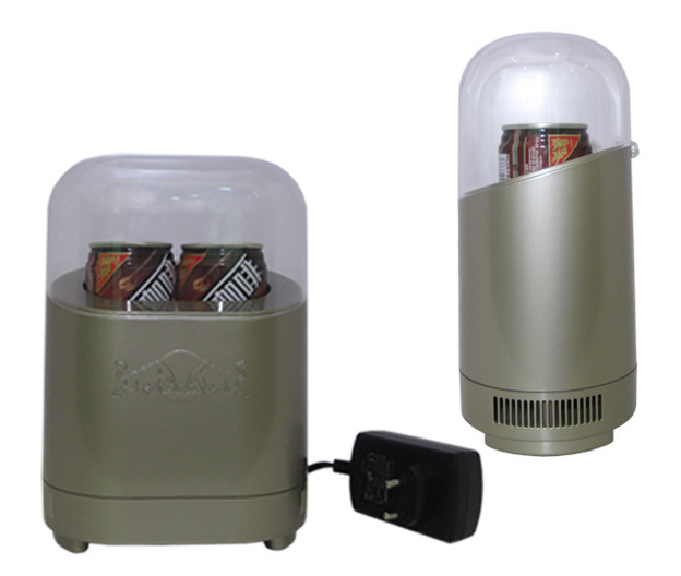 Two Cans (180ml/can) Mini Fridge DC9V with AC Adaptor (100-240V) for Cooling Function