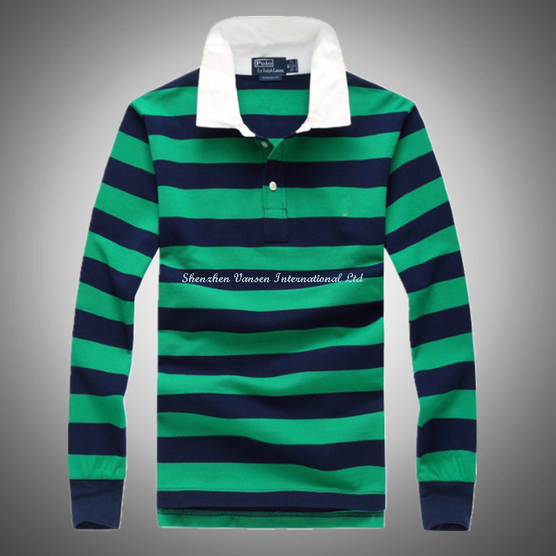 Striped Polo Shirt with Long Sleeve