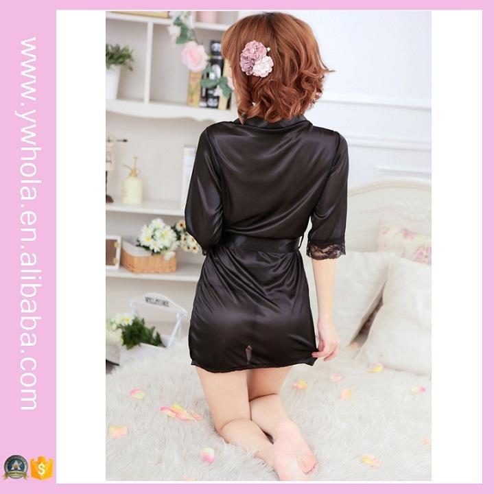 Fashion Women Sexy Lingerie Satin Robe Lace Pink Intimate Sleepwear Robe Night Gown Nightwear Dress