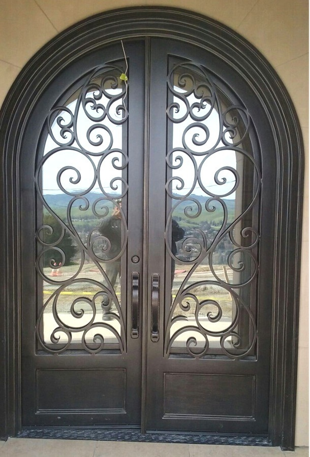 Artistical Hand-Forged Round Top Iron Front Entry Doors