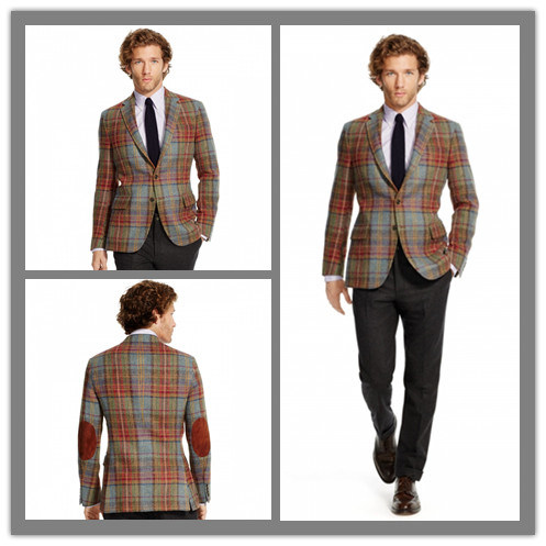 Made to Measure Chequered 100% Wool Fabric Elbow Patch Trendy Casual Blazer Jacket for Men (SUIT63063)