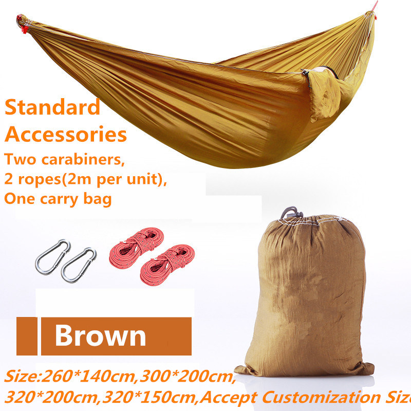 Carries Outdoor Parachute Camping Double Hammock with Carabiners