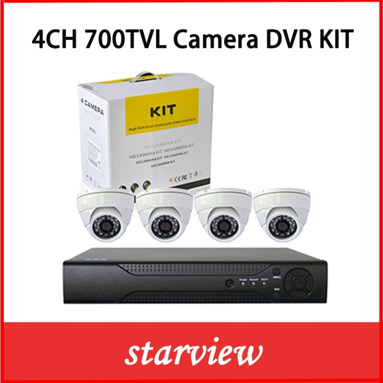 4CH DVR Kits +700tvl Sony CCD Indoor Dome Cameras