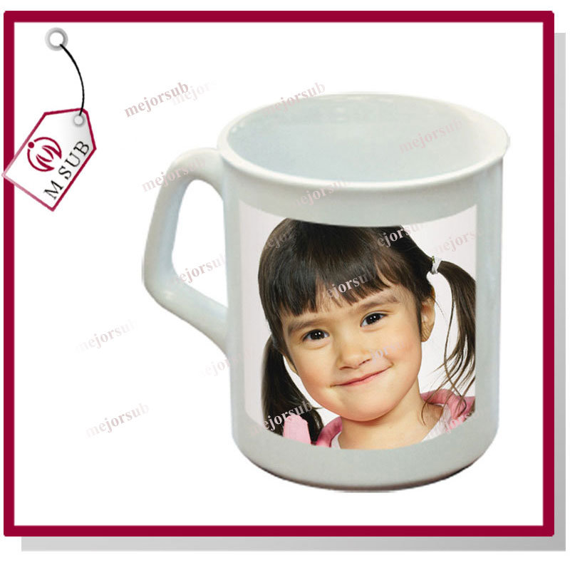 9oz Sublimation Coated Ceramic Sparta Mug with Square Handle