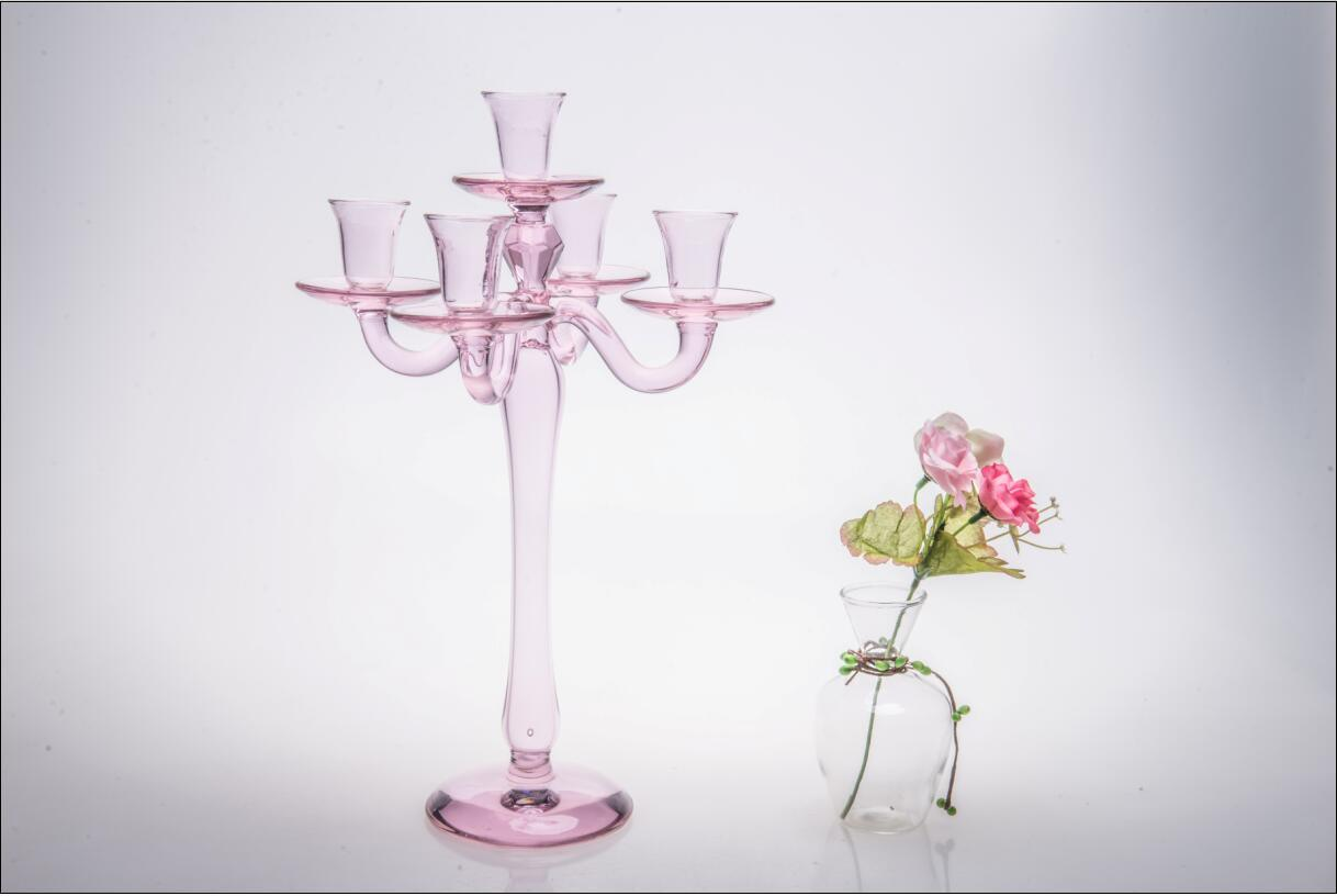 Pink Five Poster Glass Candle Holder for Wedding Decoration