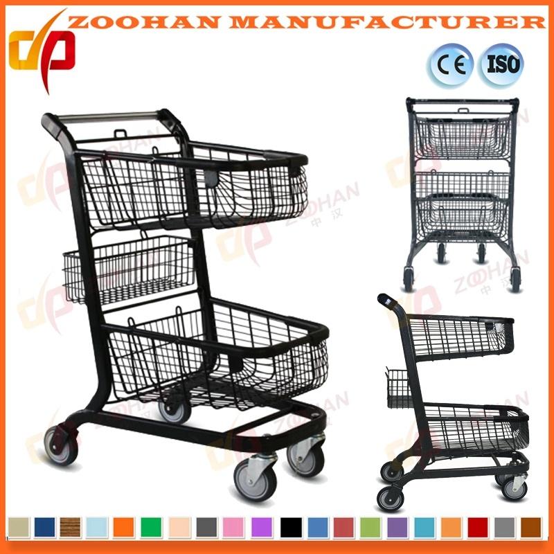Twin Basket Zinc Plated Metal Supermarket Shopping Trolley Cart (Zht191)