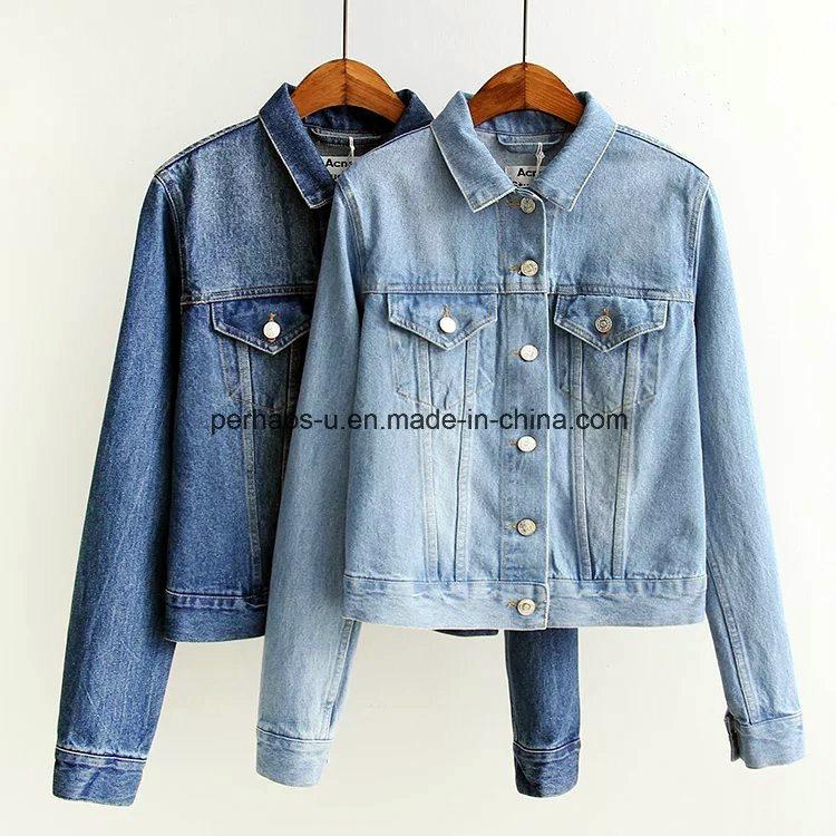 Ladies New Fancy Plain Heavy Vintage Washed Crop Denim Jackets