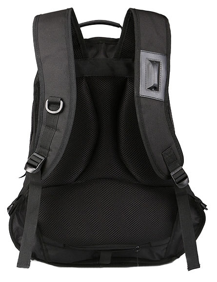 Black Polyester School Backpack Laptop Bag with Leisure Design