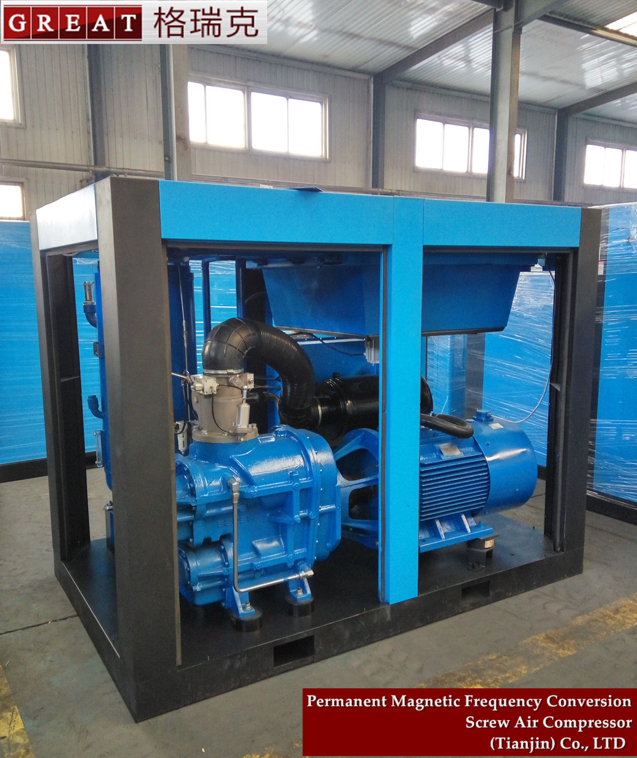 Oil Jet Lubrication Direct Coupled Two Stage Screw Air Compressor