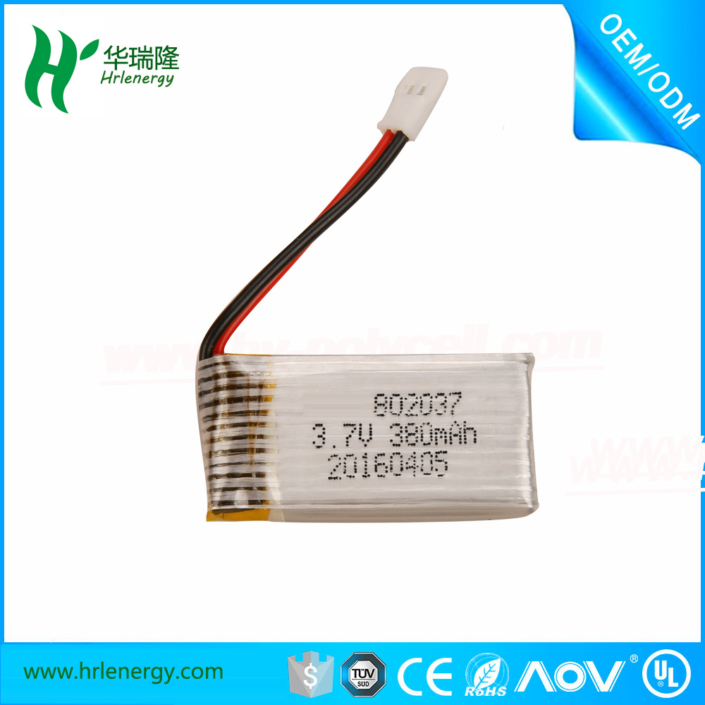 RC Battery 802037 3.7V 380mAh Lipo Battery for RC Drone Quadcopter