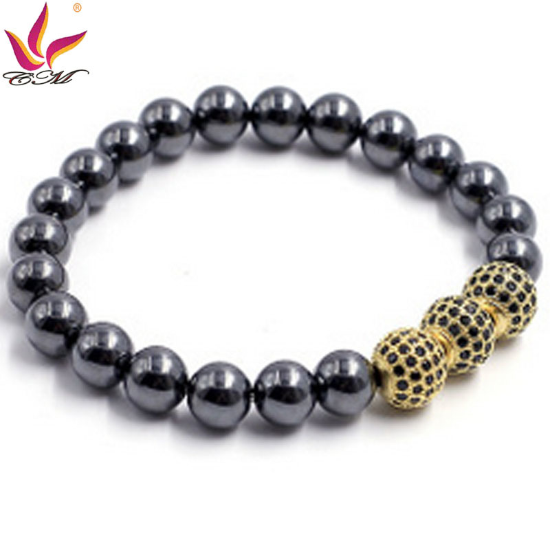 Htb-008 10mm Hematite Black with 3 Big CZ Ball Gold Color Bracelet