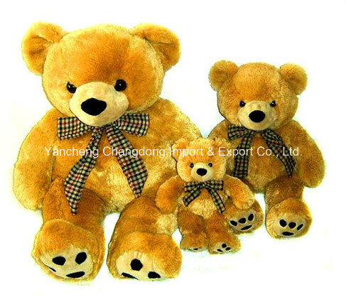 Plush Brown Sitting Teddy Bear with New Soft Material