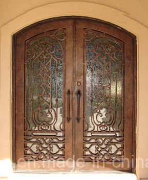 Beautiful Security Wrought Iron Front Doors with Kickplate