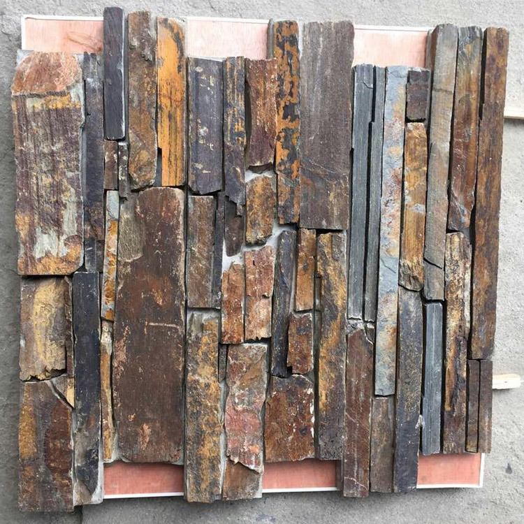Hot Saled S1120 Rusty Natural Slate Cement Back Stone Panel (SMC-CC160)