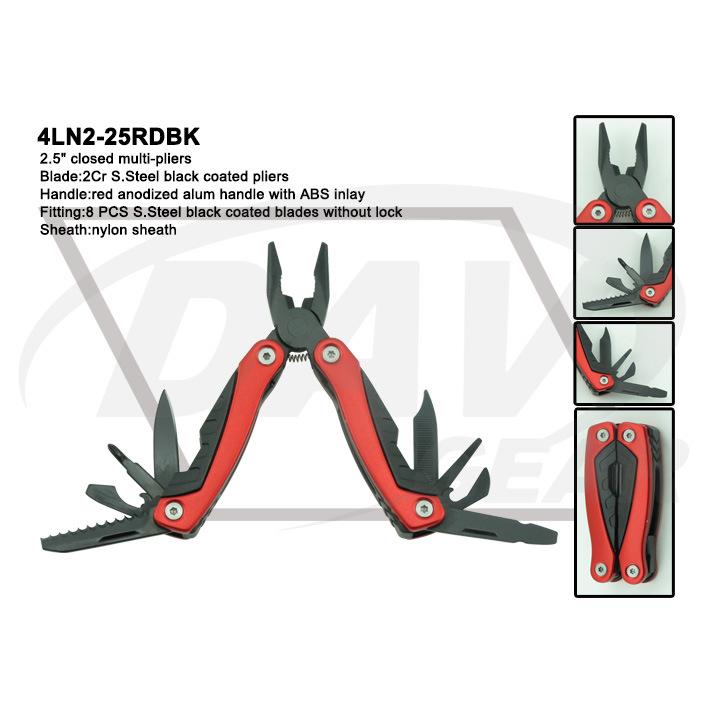 """4""""Blue Anodized Alum Handle Multi-Tools with Black Pliers: 4ln1-40blbk"""