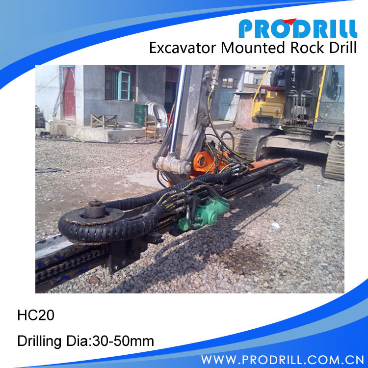 Hydraulic Excavator Mounted Rock Drilling Rig for Borehole Drilling
