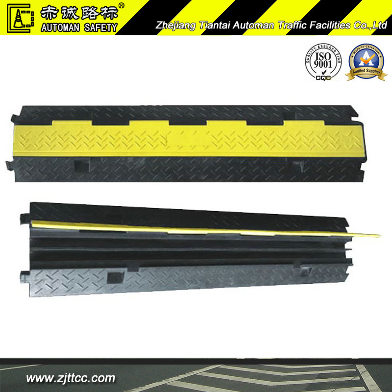 2channels Reflective Industrial Rubber Cable Safety Protector Hump (CC-B17)