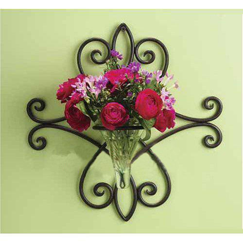 Wrought Iron Wall Sconces Flowers : China Wrought Iron Flower Holder for Wall Decoration (XY09-1012) - China Flower Holders, Metal ...