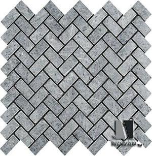 Tumbled Marble Mosaic Herringbone Design
