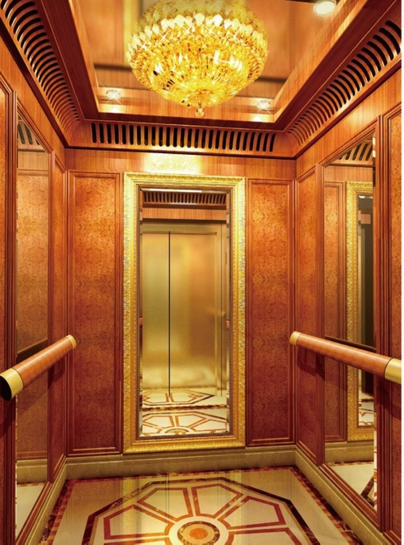China 800kg mirror finish passenger elevator with Elevator cabin design
