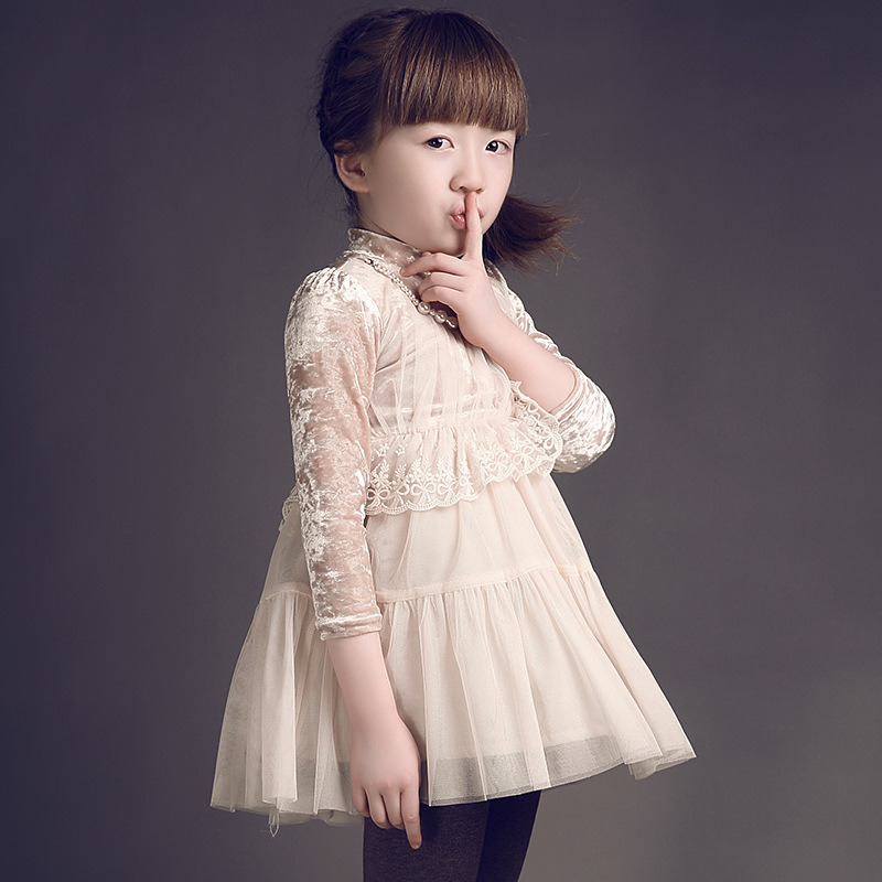 Velvet Layered Flower Girls Dress for Winter