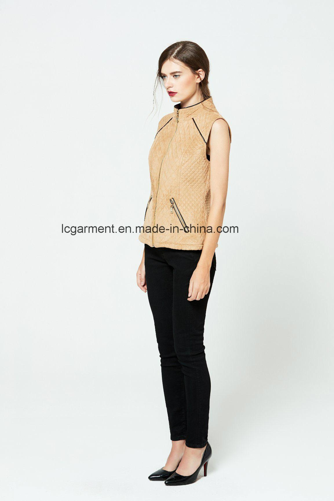 Popular Slim Fit OEM ODM Fashionable Zipper Women Leather Vest