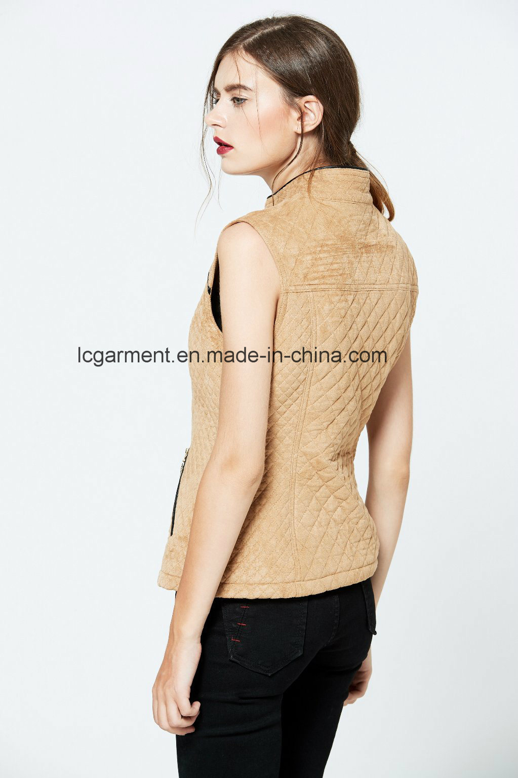 Popular Slim Fit OEM ODM Fashionable Zipper Women Leather Vest