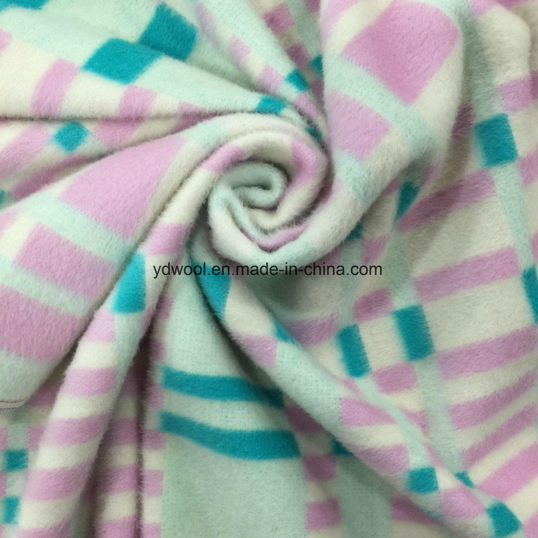 Big and Small Check Napping Wool Fabric
