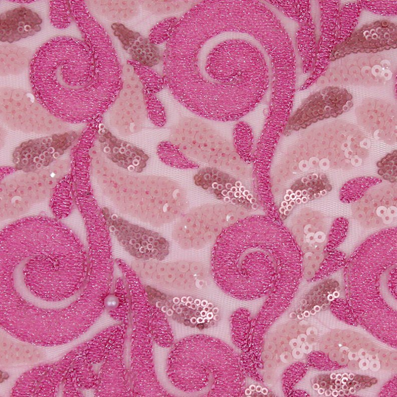 Embroidery Design Sequence French Net Lace in Pink
