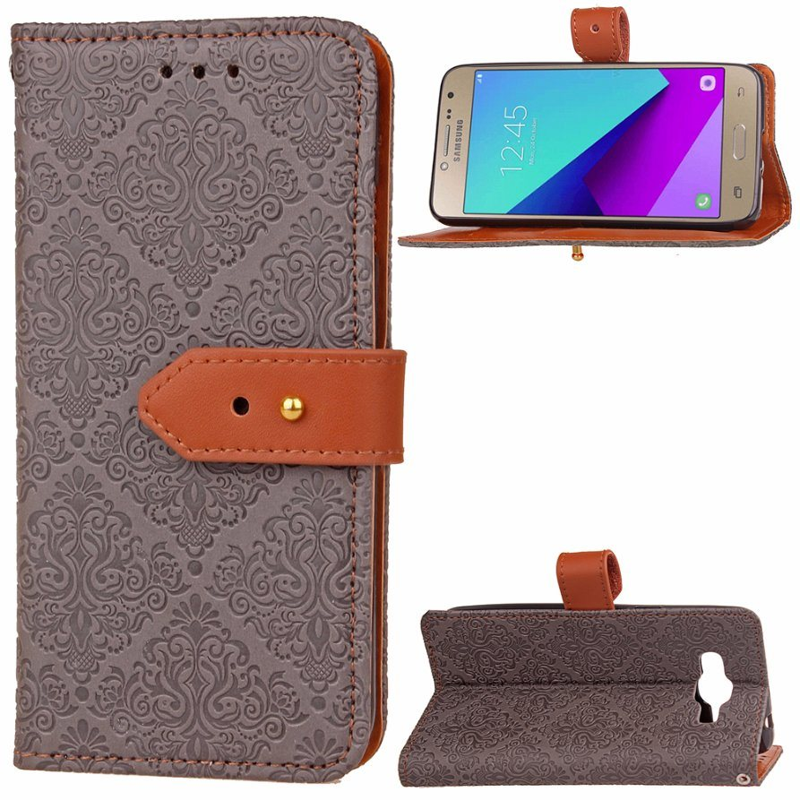 Luxury PU Leather Wallet Flip Protective Case for Samsung Galaxy J2 Prime