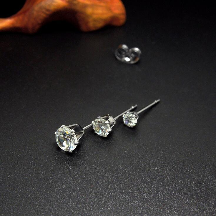 Crystal Stud Earrings 316L Stainless Steel Women Fashion Jewelry