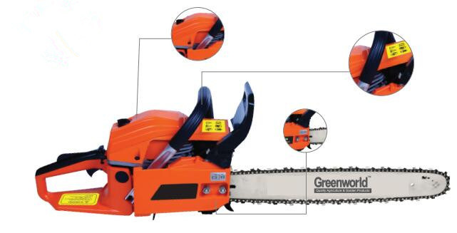 2-Stoke Air-Cooled Single Cylinder 2.2kw 51.2cc Gasoline Chainsaw