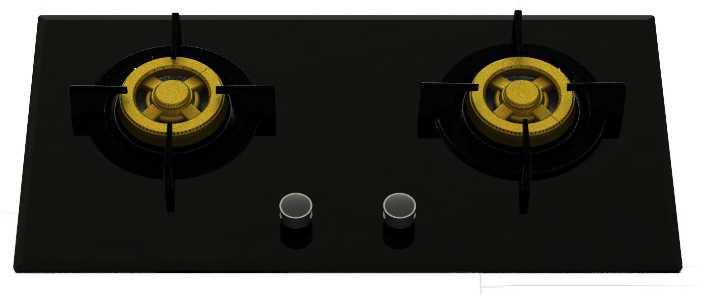 Supreme Two Brass Burner Gas Stove (8mm Glass)