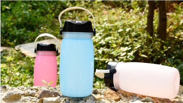 Silicone Bottle with LED Solar Camping Lamp
