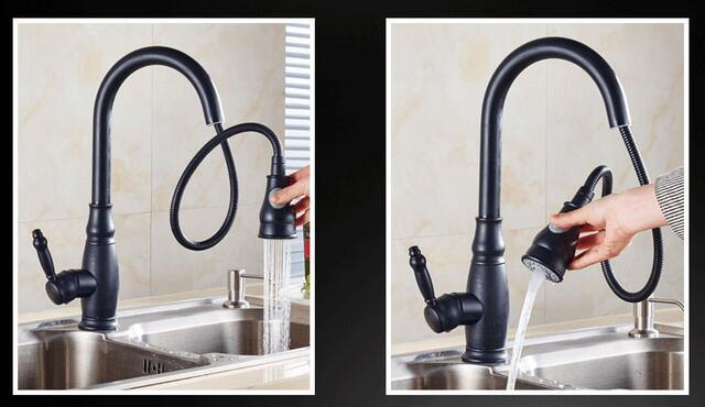 Modern Blackened Kitchen Pull out Spray Faucet