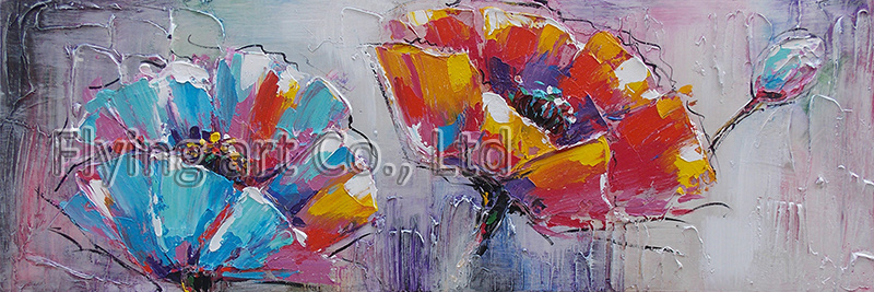 Handmade Palette Knife Modern Flower Oil Painting on Canvas