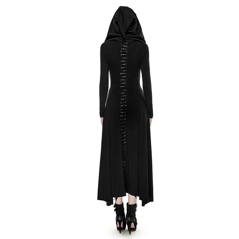 Q-290 Punk Rave Black Gothic Knit Skinny Long Dress