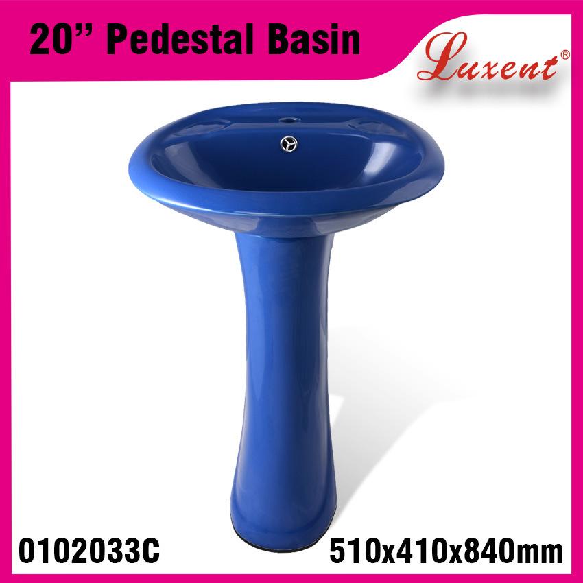 Porcelain Colored Floor Mounted Hand Wash Pedestal Basin