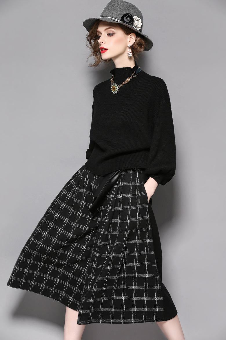 Haute Douture Black Knitted Batwing Sleeve Coat + Collect Waist Printing Culottes Leisure Suit